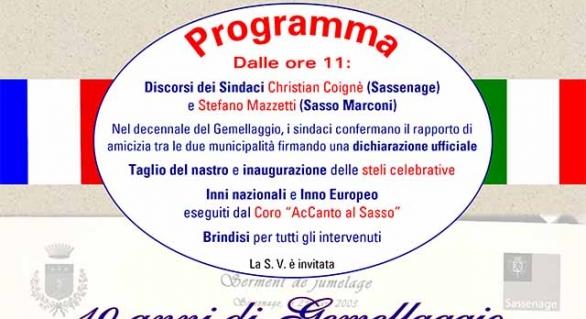"""Un parco a Sasso Marconi per i """"gemelli"""" francesi di Sassenage"""
